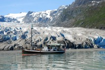 David B at anchor in front of glacier in Alaska