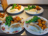 Gourmet dinner on an alaska cruise halibut gruyere