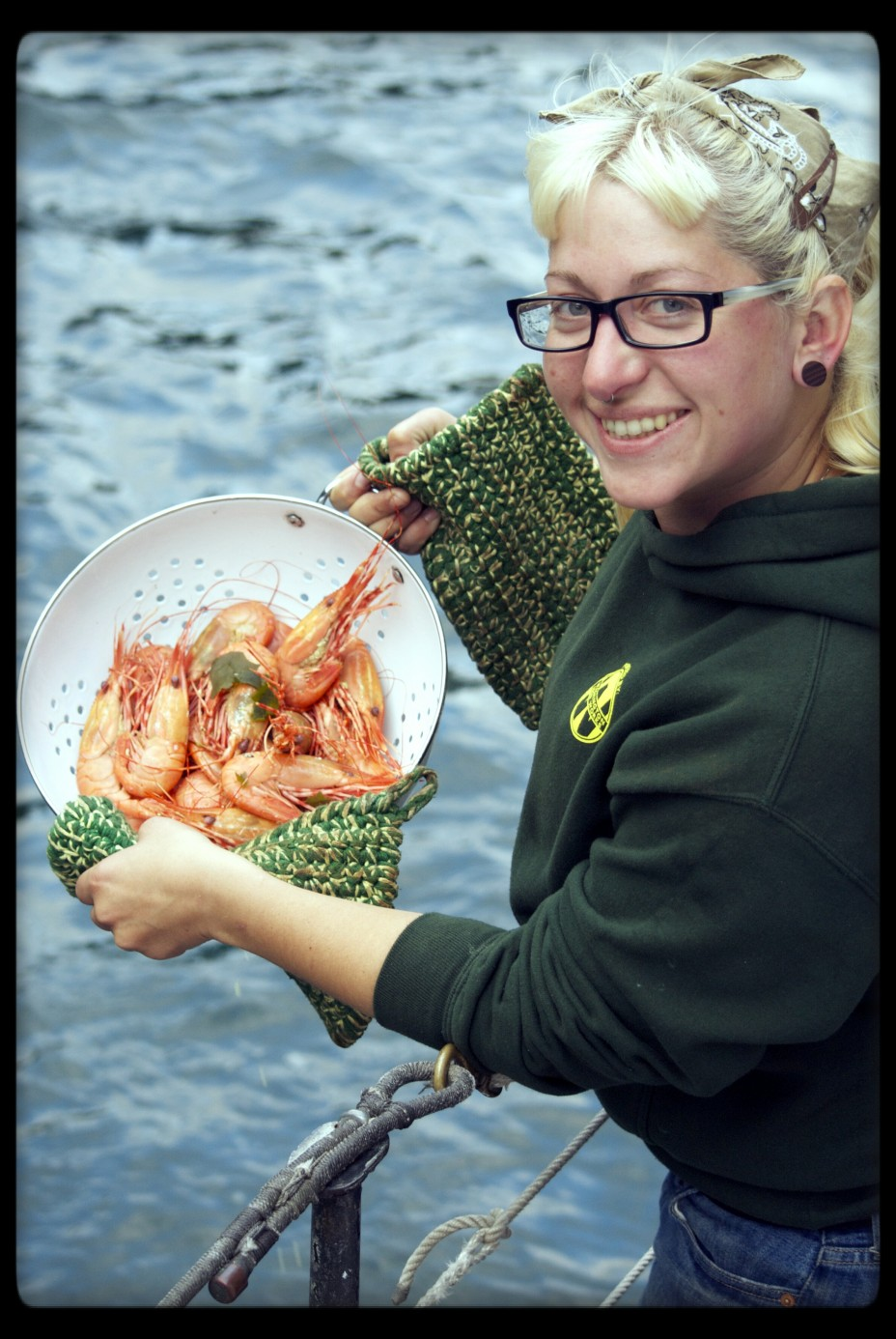Deckhand Cass with Spot Prawns