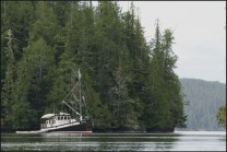 Small cruise ship anchored in Canada's Inside Passage