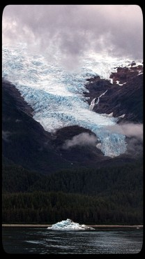 Sumdum Glacier with Iceberg in Endicott Arm Small Ship Alaska Cruise