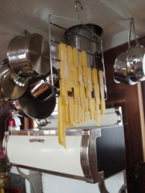 Pasta drying above the David B's wood cook stove