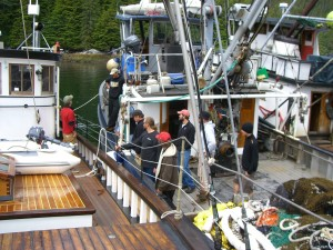 The David B Rafted up to Fishing Boats