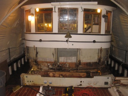 David B | Winter Outfitting | Removing the front of the pilothouse