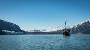 Small cruise ship in Glacier Bay's Tarr Inlet