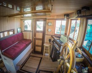 Wheelhouse on small cruise ship
