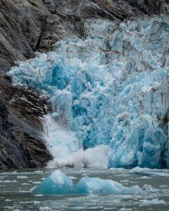 Glacier in Alaska calving ice.