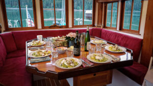 Galley Table set for dinner on the Motor Vessel David B